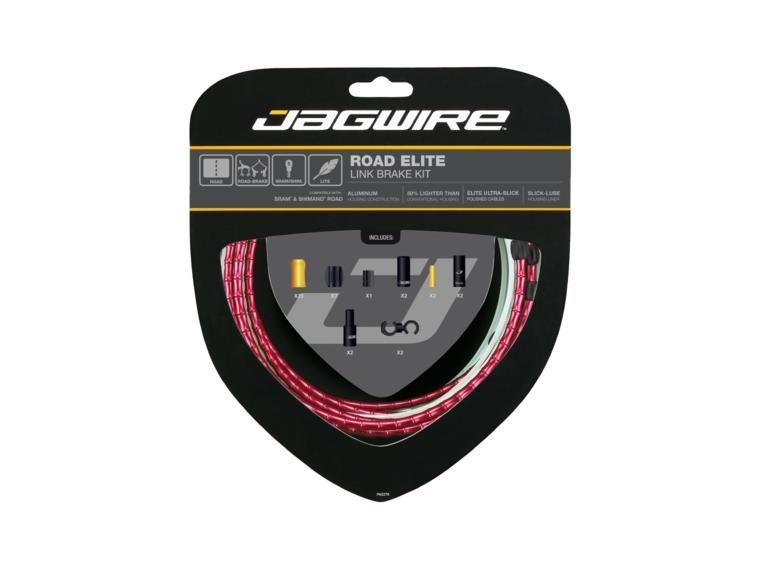 Jagwire Road Elite Link Brake Kit kabelset Rood